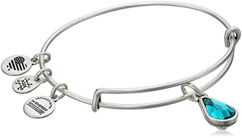 (Alex and Ani December Birth Month Charm with Swarovski Crystal Rafaelian Silver Bangle Bracelet)