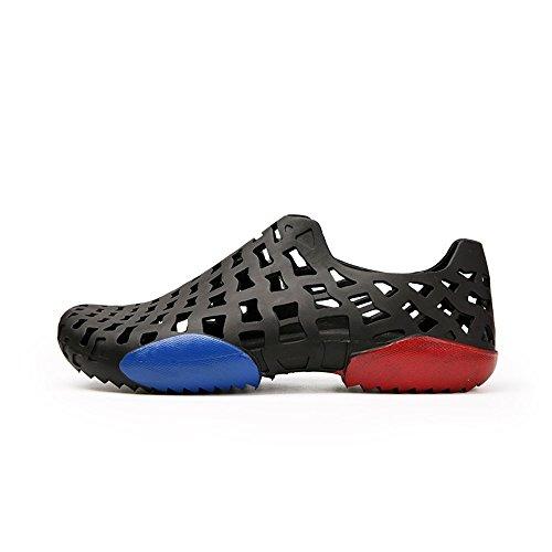 Plano Vamp Shoes Toe Water Sandalias de los de Libre Hombres Sandalias al Negro Aire tacón Cloesd Hollow TwZxPqzO