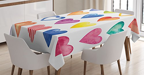 Ambesonne Grunge Tablecloth, Rainbow Color Heart Shapes Valentine's Day Design Romantic His and Hers Theme, Dining Room Kitchen Rectangular Table Cover, 60