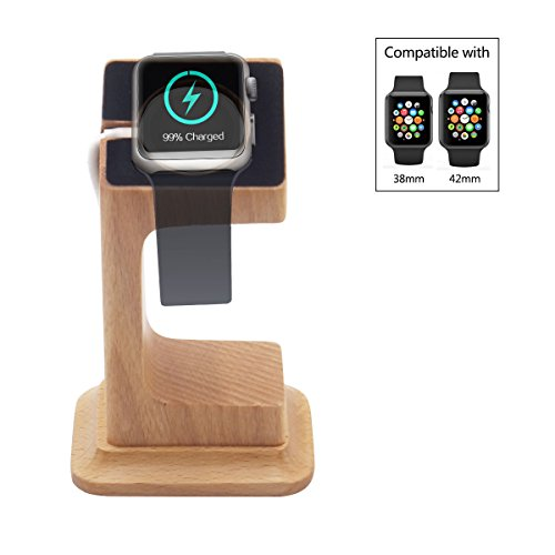 Apple Watch Dock, Blue Hole Stable Elevated Base Wood Apple Watch Charging Stand Dock Station, Support Apple Watch Series 3, Series 2, Series 1 (38 mm & 42 mm) by Blue Hole