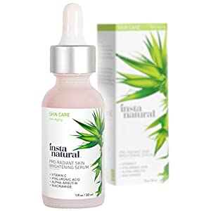 Skin Brightening Serum with Vitamin C - Advanced Antioxidant Serum for Firming Wrinkles, Fine Lines - Lightening Dark Spots, Hyperpigmentation - With Hyaluronic & Niacinamide - InstaNatural - 1 OZ