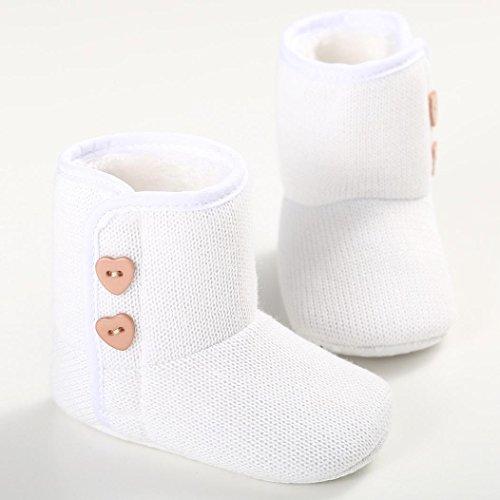 Zapatos Bebé,Xinantime Zapato Botón para Niños Zapatillas Invierno (18, Negro) Blanco