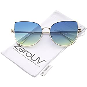 zeroUV - Women's Oversize Slim Metal Frame Gradient Colored Flat Lens Cat Eye Sunglasses 58mm (Matte Gold / Blue-Green)