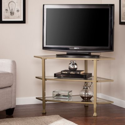 Bakerton Khaki Metal and Glass TV Entertainment Corner Media Stand for Equipment Coffee End Table with (Sei Metal Table)