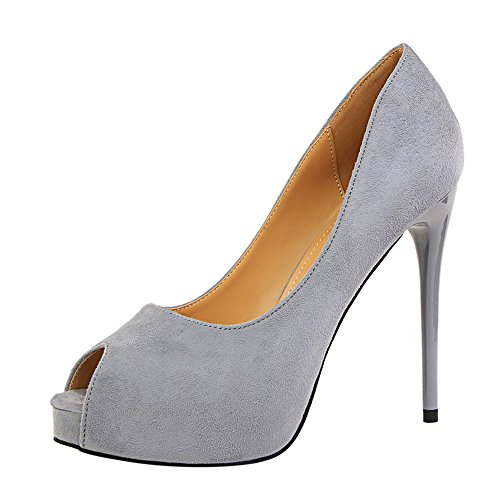 High Women Party Sandals Grey Platform Shoes MAKEGSI Toe Heels Dress Peep Pumps wX6qx8xd7