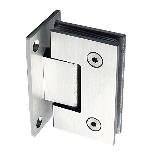 Alise Heavy Duty 90 Degree Glass Door Cupboard Showcase Cabinet Clamp Glass Shower Doors Hinge Replacement Part Wall-to-Glass,Stainless Steel Brushed Finish - Parts Shower Doors
