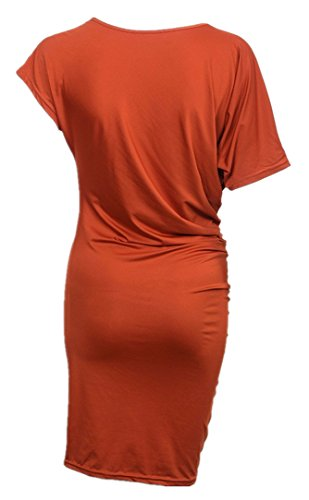 Dress Women Above Sexy Sleeve Short Dress Blouse Knee Allonly Orange Length qSFCRzx