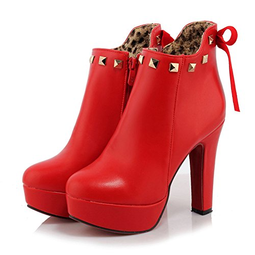 Lucksender Zip High Womens Boots Red Martin Ankle Side afqa6wr