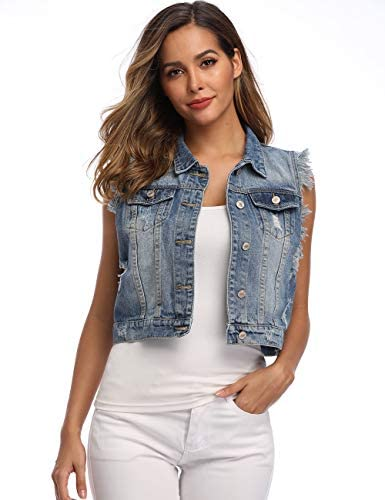 PEIQI Classic Jean Jackets for Women Basic Long Sleeve Button Downs Ripped Denim Jackets