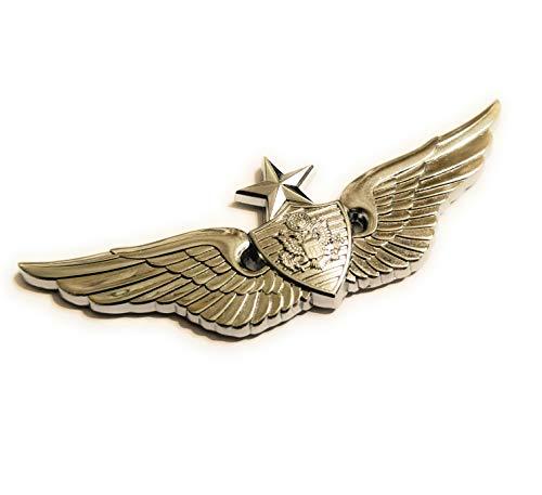 Shadow Six Romeo Military Army Chrome Metal Decal Auto Emblem (Senior Aviation Badge)