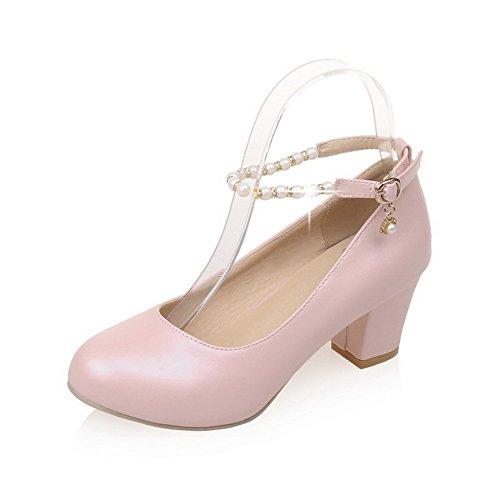 Balamasa Ladies Fibbia Perline Scarpe Tacco Grosso Pompe In Uretano Rosa