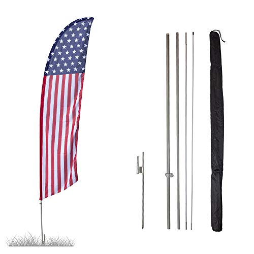 Vispronet - USA - Stars and Stripes Feather Flag Kit - 13.5ft Knitted Polyester Swooper Flag with Pole Set and Ground Spike - Printed in The USA