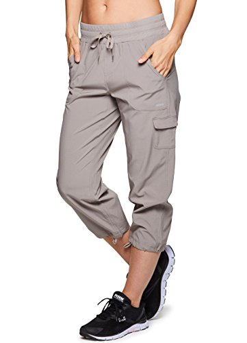 RBX Active Women's Lightweight Body Cargo Drawstring Woven Pant Khaki (Ladies Mesh Knit Pant)