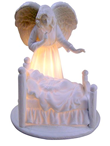 White Porcelain Guardian Angel with Baby Nightlight, 5 1/2 Inch - Guardian Angel Light
