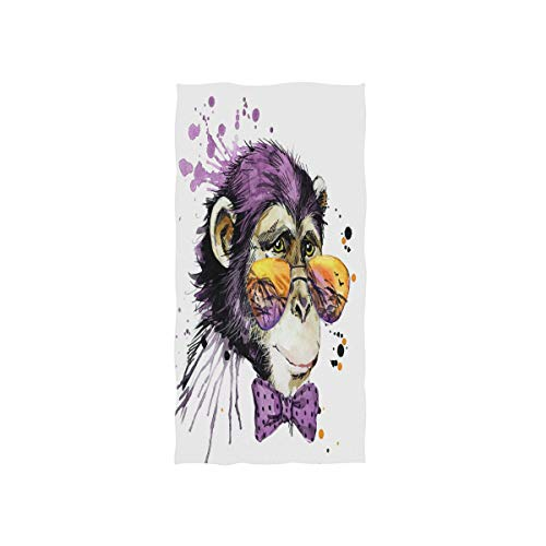 (Wamika Cool Monkey Oil Painting Hand Towels, Bow Animal Bathroom Towel Quick-Drying Absorbent Towel for Hand Face Gym Spa for Teen Girls Adults Travel Pool Gym Use 30 X 15)