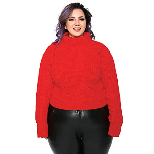 Astra Signature Women's Plus Size Stretch Knit Turtle Neck Long Sleeve Top Pullover Sweater (2XL, Red)