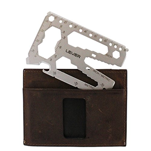 Lever Gear Toolcard Pro 40 Tools in 1 Credit Card Multitool. Sleek Minimalist Stainless Steel Wallet Card Bead Blast Silver Perfect Father's Day Gift
