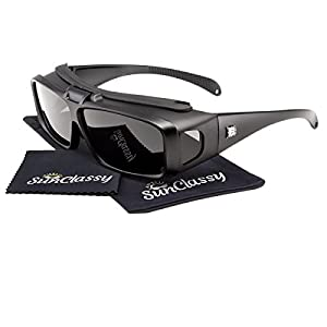 Sunclassy Mens Womens Black Polarized Sunglasses Fit Over Cover Wear Over Prescription Glasses Anti Glare Driving Wrap Around Driving Square Frame Motorcycle Block UVA UVB UVC (Matte Black)