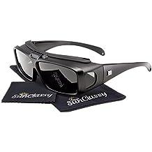 Sunclassy Mens Womens Black Polarized Sunglasses Fit Over Cover Wear Over Prescription Glasses Anti Glare Driving Wrap Around Driving Square Frame Motorcycle Block UVA UVB UVC