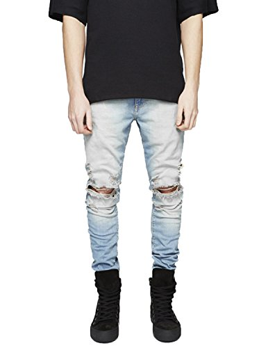 Pishon Men's Distressed Jeans Washed Stretchy Tapered Leg with Holes Ripped Jeans, Light Blue, 32