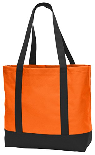 Port Authority Day Tote BG406 Neon Orange/Black One Size Trendy Canvas Tote