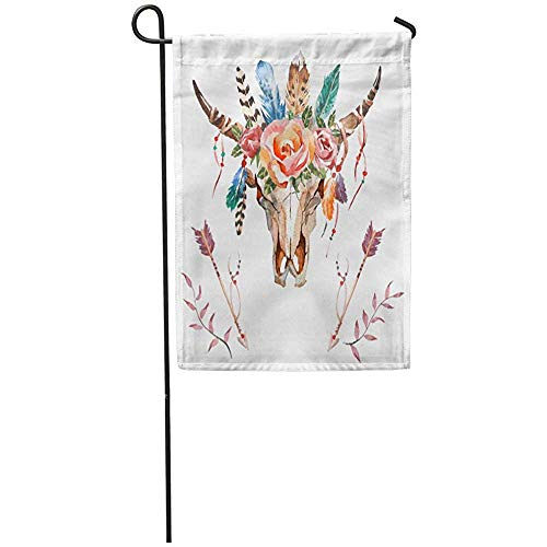 Staroind Garden Flag 12x18 Inches Print On Two Side Polyester Watercolor Bull Head Flowers and Feathers on Boho Skull Home Yard Farm Fade Resistant Outdoor House Decor Flag ()