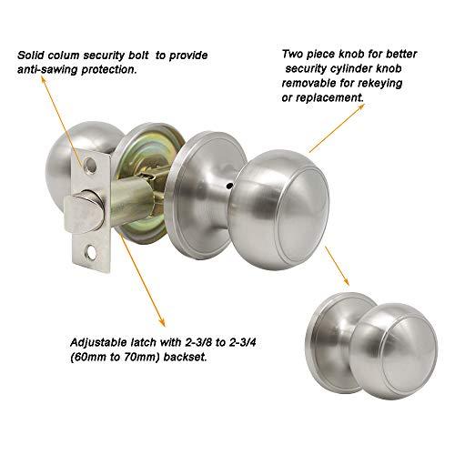 10 pack Probrico Interior Hallway Passage Closet Keyless Doorknobs Door Lock Lockset 609-SN-PS in Satin Nickel by Probrico (Image #3)