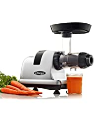 Omega J8007S Juicer Extractor and Nutrition Center Creates Fruit Vegetable and Wheatgrass Quiet Motor Slow Masticating Dual-Stage Extraction with High Juice Yield, 200-Watt, Silver