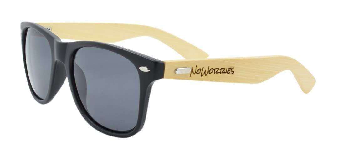 NEW!''NoWorries'' Logo Real Bamboo Wood Wayfarer Sunglasses Dark Lens 100% UVProtection with Eco Friendly Case, for Men Women (Matte Black)