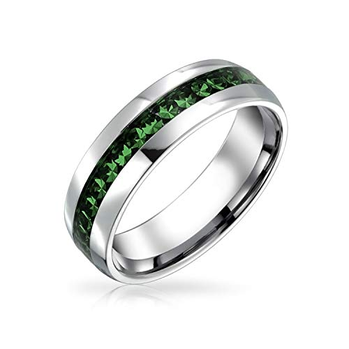 Bling Jewelry May Birth Month Dark Green Color Channel Set Crystal Eternity Band Ring for Women for Men Silver Tone Stainless Steel (Steel Emerald)