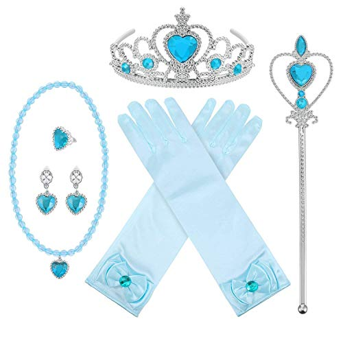 Princess Dress Up Halloween Party Set Girls Gloves Tiara Jewelry and Magic Wand 6 Piece Accessory Pack, Blue -