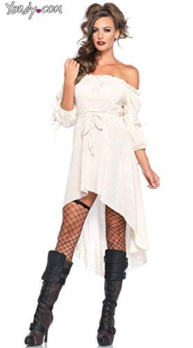 (Leg Avenue Women's High Low Peasant Dress Costume, Ivory,)