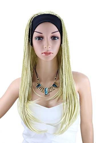 Kalyss 24 inches 613 Blonde Wigs Hand Tied Twisted Braids Premium Synthetic Fiber Headband Wigs Afro Crochet Braided Half 3/4 Wigs for Women Costume Hairpiece with Black Headband