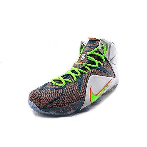 Nike LeBron XII Herren Basketballschuhe Blau / Metallic Silber-total Orange-elektrisches Grün