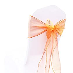 BITFLY 100pcs Organza Chair Sashes Cover Ribbon Bow for Wedding & Banquet Décor Chair Bow Sash (coral orange)