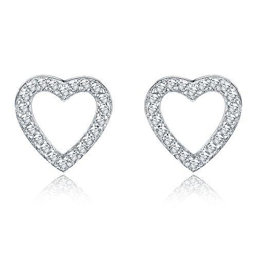 Sterling Open Heart - AoedeJ Open Heart Stud Earrings 925 Sterling Silver Earrings Inlay CZ Stone Girls and Women Earrings (Heart style 2)