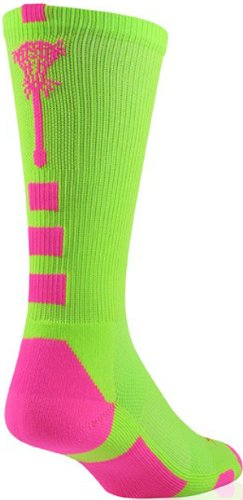 Midline Lacrosse Logo Crew Socks (Neon Green/Hot Pink, Medium) (Hot Pink And Lime Green compare prices)