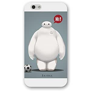 Customized White Frosted Disney Cartoon Movie Big Hero Baymax Case Cover For Apple Iphone 6 Plus 5.5 Inch Case, Only fit Iphone 5/5S