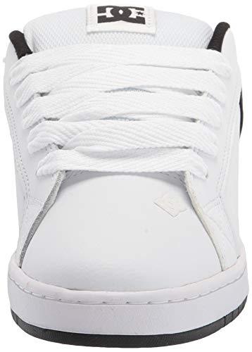DC Men's Court Graffik Skate Shoe, White/Black/Black,8.5 M US