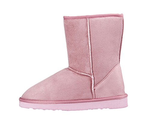 Passionow Women's Classic Warm Faux Fur Lined Round Toe Slip-Ons Mid Claf Flat Snow Boots (6 B(M)US,Pink) (Construction Worker Costume Images)