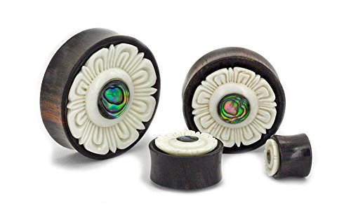 Elementals Organics Areng Wood Plugs for Ear - Ear Gauge with Abalone Inlay, 26mm, 1-1/16 Inch, Price Per 1 Earring