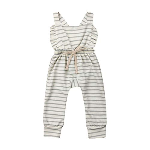 (TIFENNY Newborn Baby Sleeveless Romper Girl Boy Backless Striped Ruffle Romper Overalls Jumpsuit Clothes Soft Cotton)