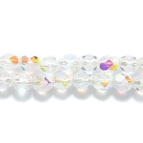 Preciosa Czech Fire 6 mm Faceted Round Polished Glass Bead, Silver Lined Crystal Aurora Borealis, 100-Pack