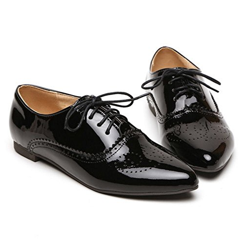 KemeKiss Women Black Lace Court Up Fashion Shoes OFpwqB