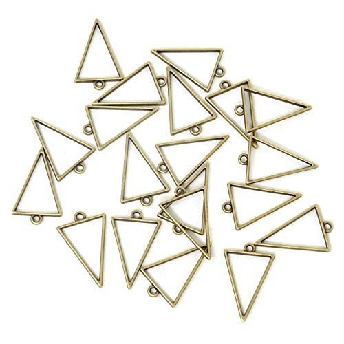 (Honbay 20PCS Antique Bronze Triangle Frame Open Back Bezel Pendant for Jewelry Making)