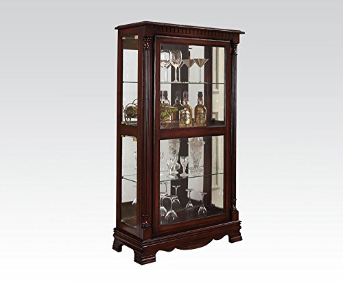 ACME Carrie Cherry Curio Cabinet with 4 Side ()
