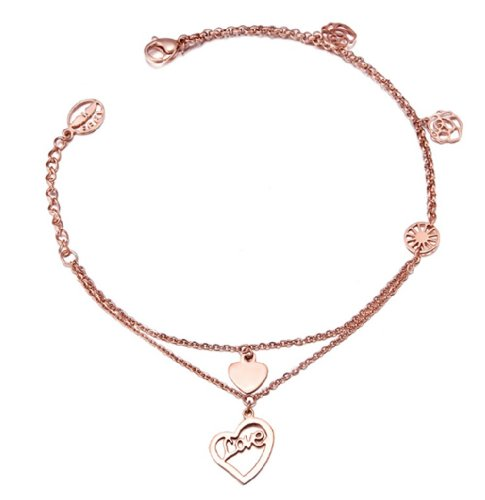 Double Layers Anklets Rose Gold Plated Ankle Jewelry For Women BTG119 by Dazzle flash (Image #2)