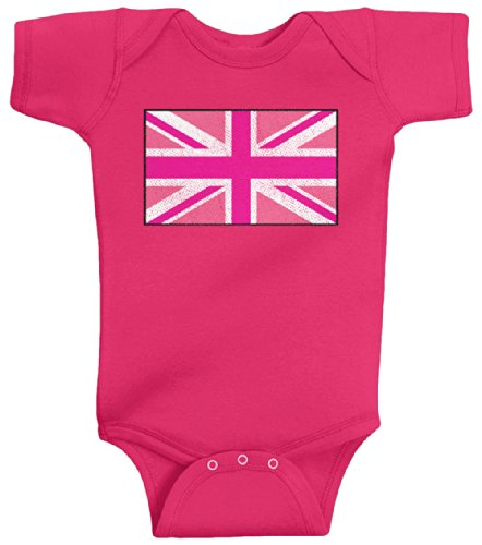 Threadrock Baby Girls' Pink Union Jack Flag Bodysuit 6M Hot Pink (Jack Union Pink)