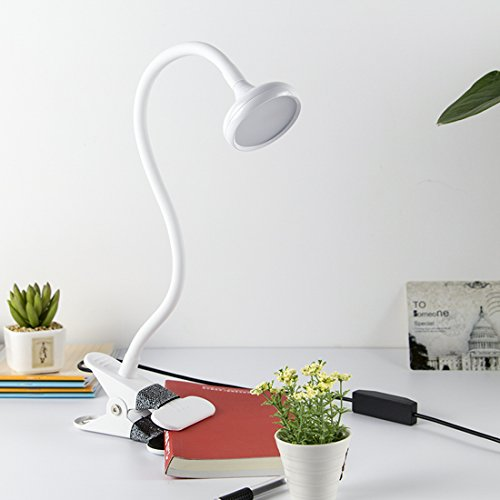 Ganeed 3W Engery-Efficient Dimmable Table Lamp Reading Light,12 LED Book Light,Flexible Sturdy Gooseneck LED Lamp for (Halogen Clamp)