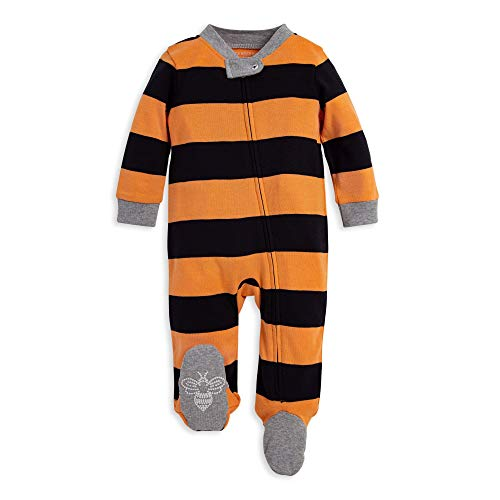 Halloween Clothes For Babies (Burt's Bees Baby Baby Sleep & Play, Organic Pajamas, NB-9M One-Piece Zip Up Footed PJ Jumpsuit, Halloween Rugby, 0-3)